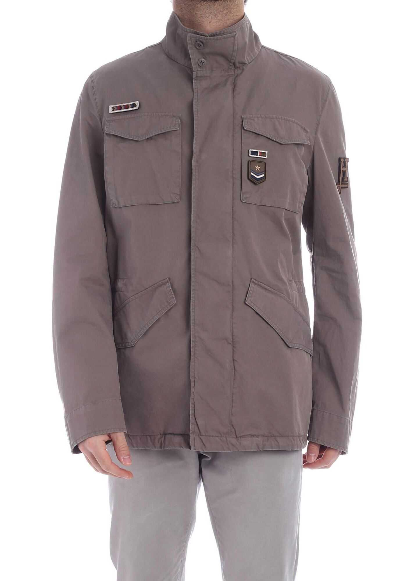 Herno Field Brown Jacket With Patch Brown imagine