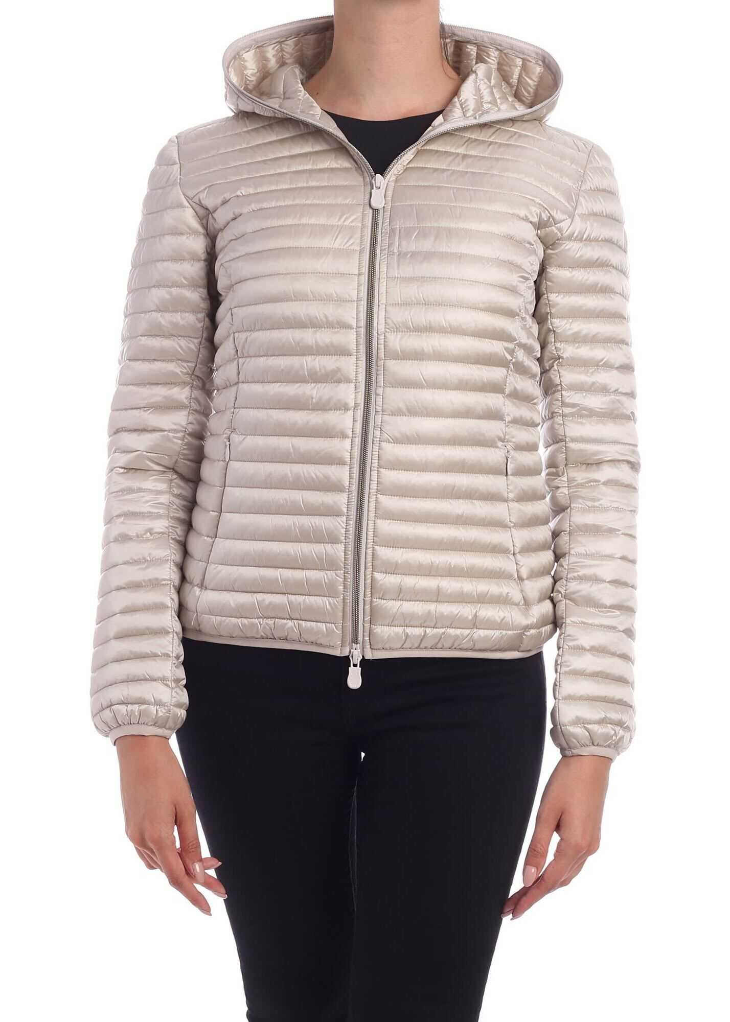 Save the Duck Logo Patch Down Jacket In Dove Grey Color Beige