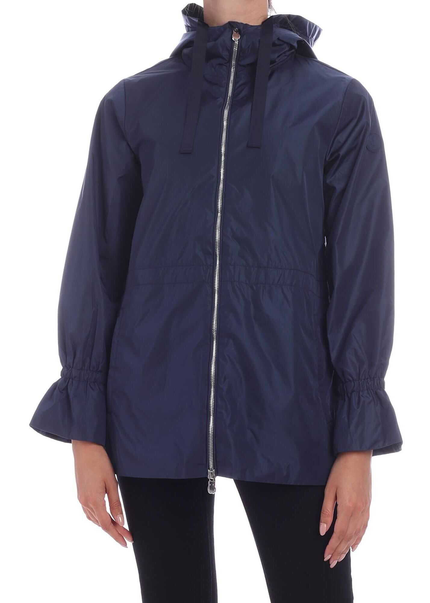 Save the Duck Tone-On-Tone Logo Patch Down Jacket In Blue Blue