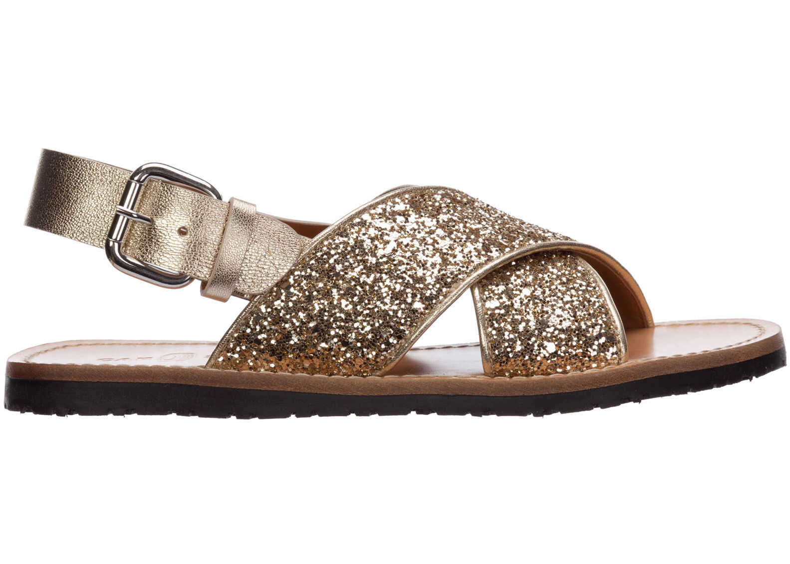 Car Shoe Leather Sandals Gold