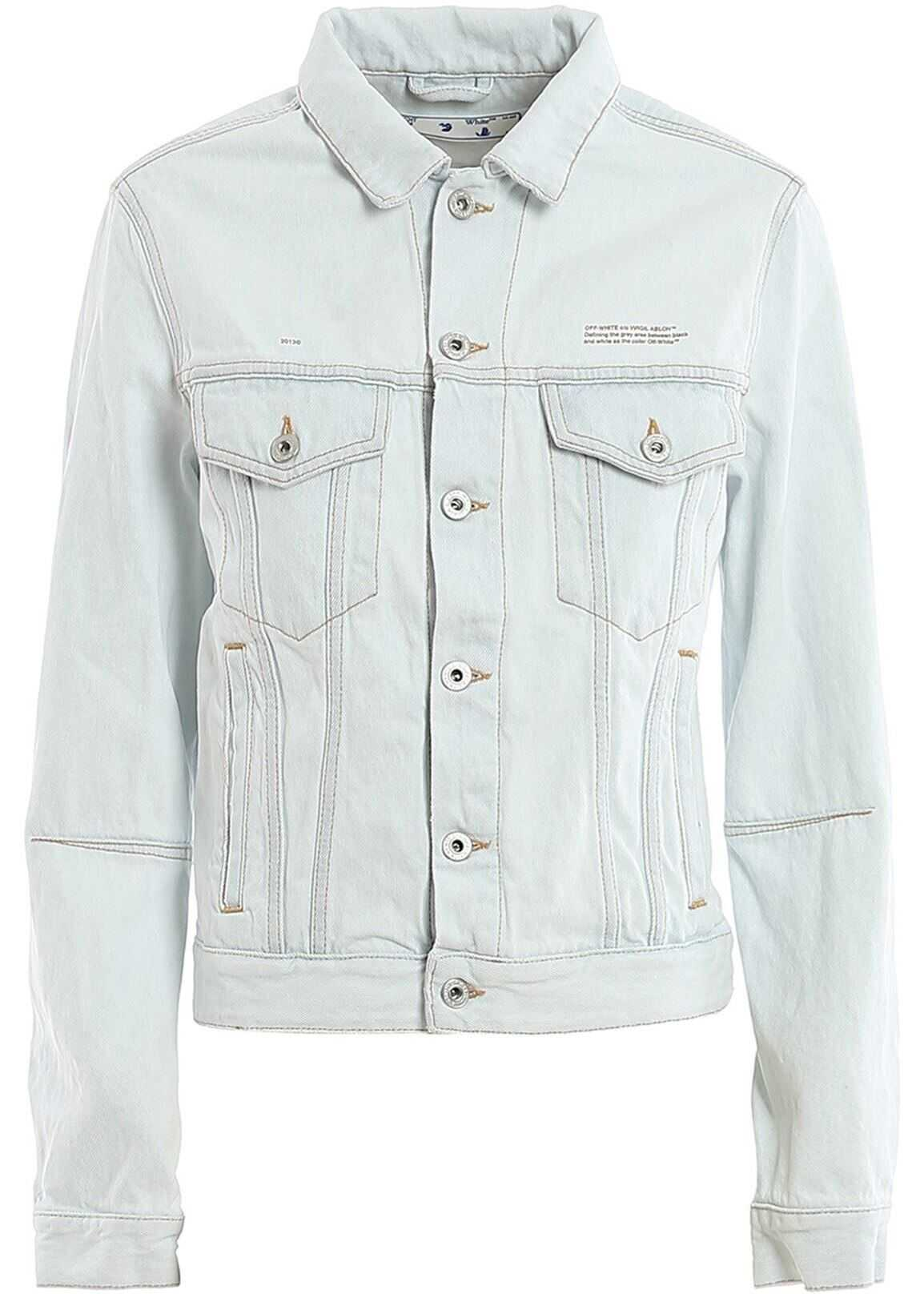 Off-White Cut Off Back Denim Jacket In Light Blue Light Blue