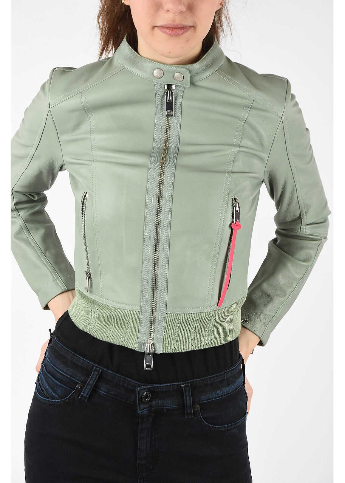 Diesel Leather L-LYSSA-C Crop Jacket LIGHT BLUE