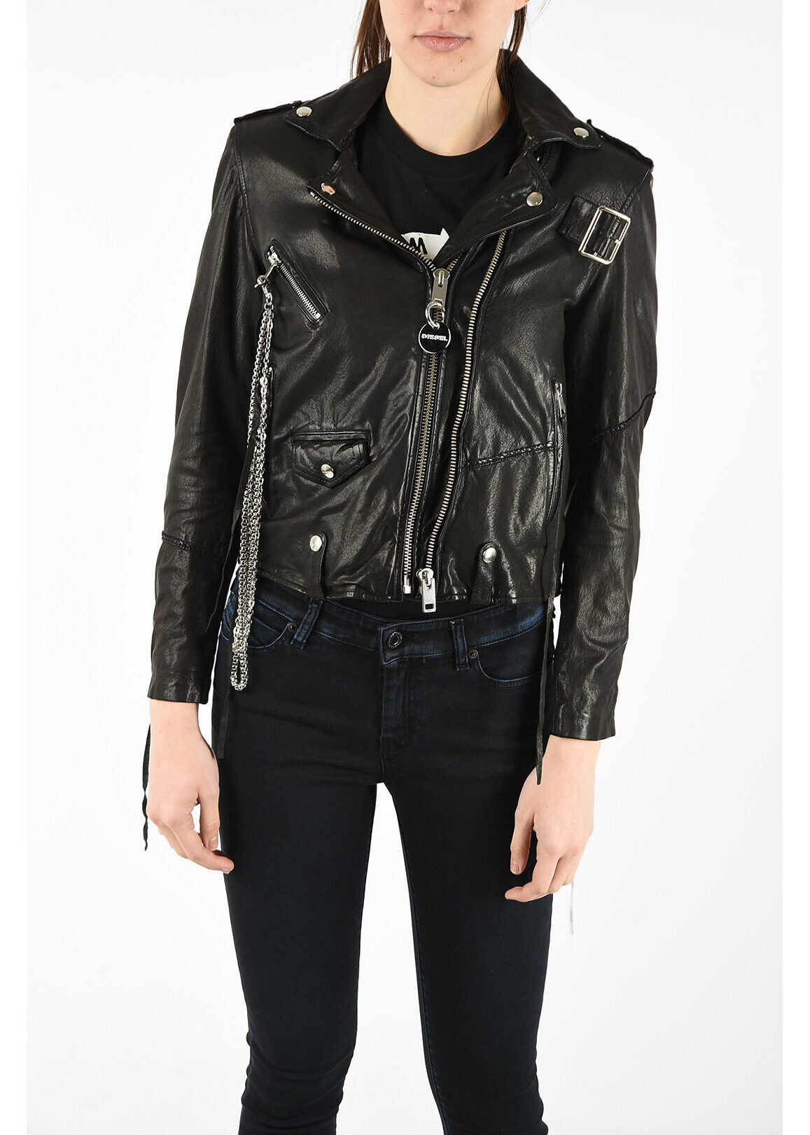 Diesel Leather L-TERRY-B Jacket with Chain BLACK