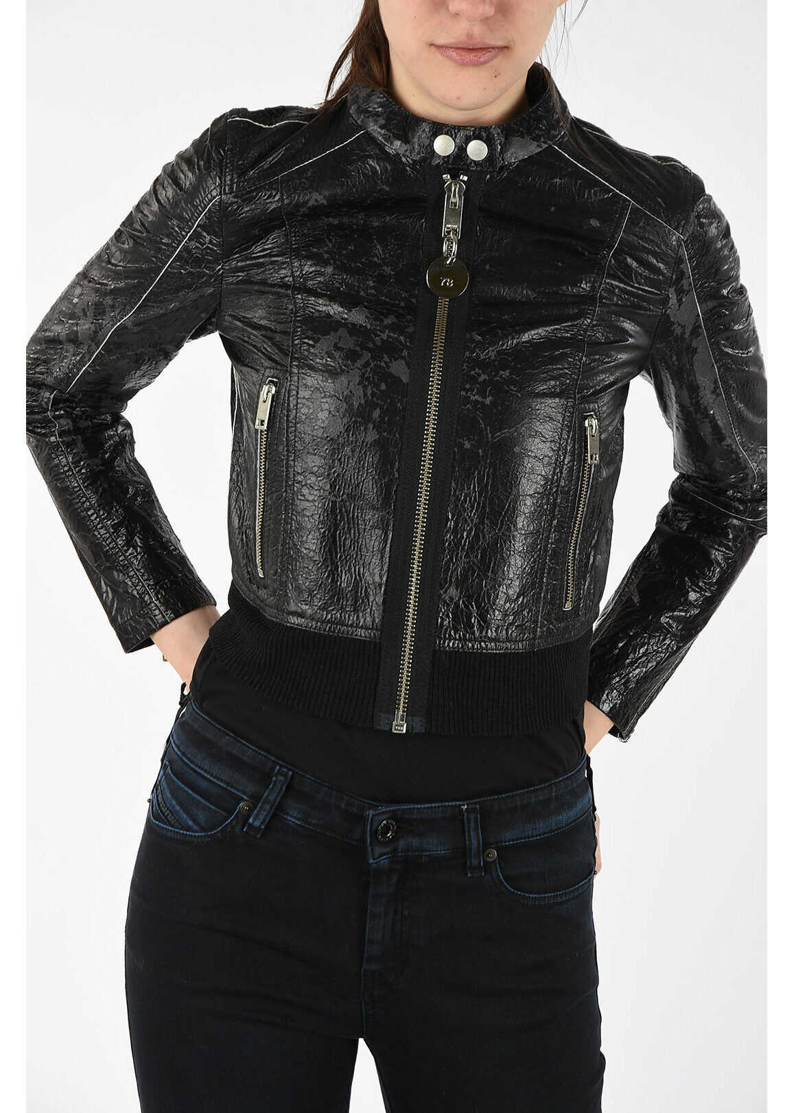 Diesel Leather Vintage effect L-LYSSA-D Jacket BLACK