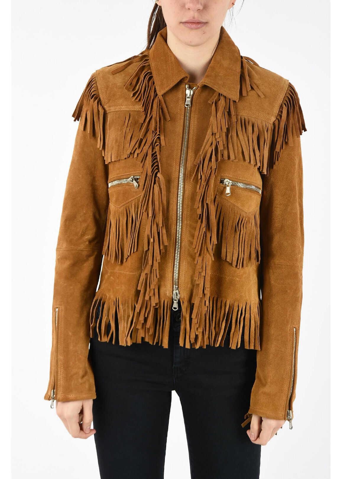 Diesel BLACK GOLD Suede Leather Frilled LAUL Jacket BROWN