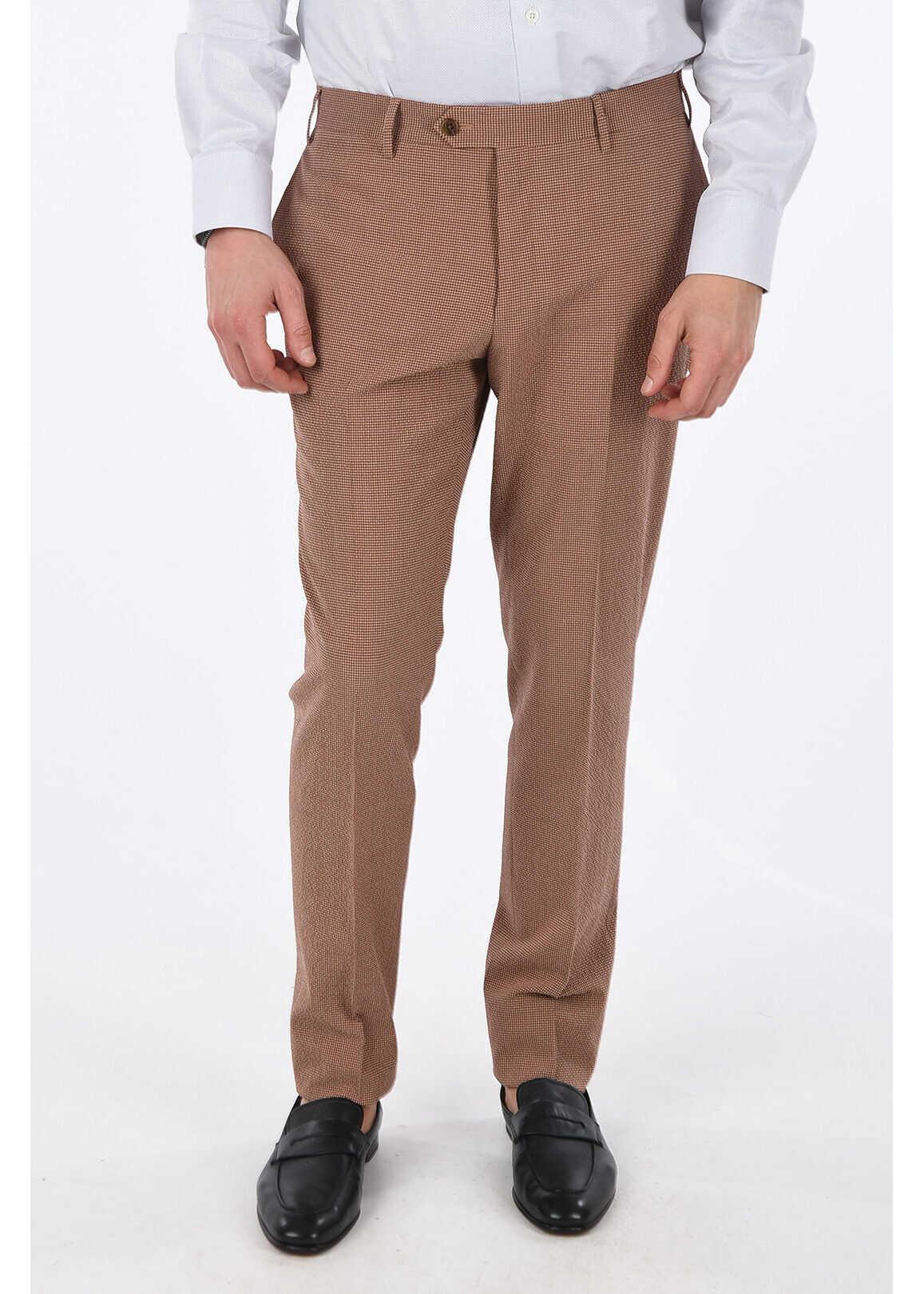 CORNELIANI Silk and virgin wool ACADEMY Pant BROWN