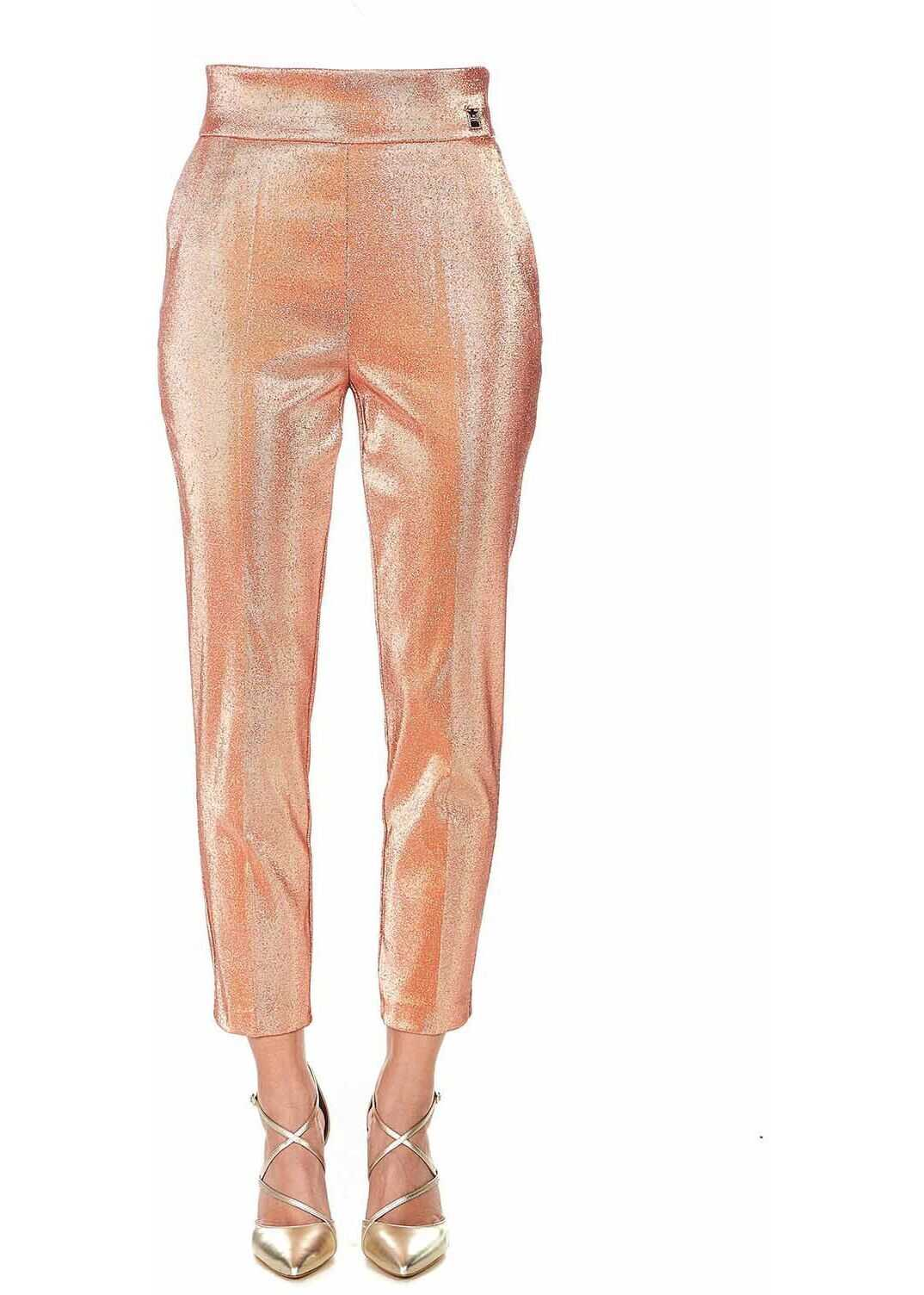 Elisabetta Franchi Trousers with glitter finish Pink