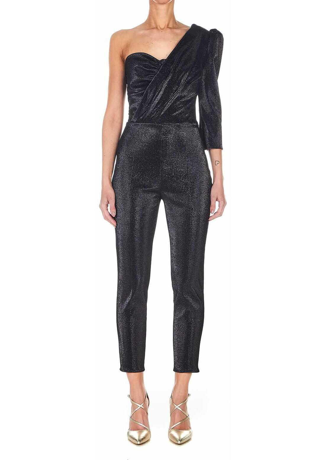 Elisabetta Franchi Jumpsuit with glitter finish Black