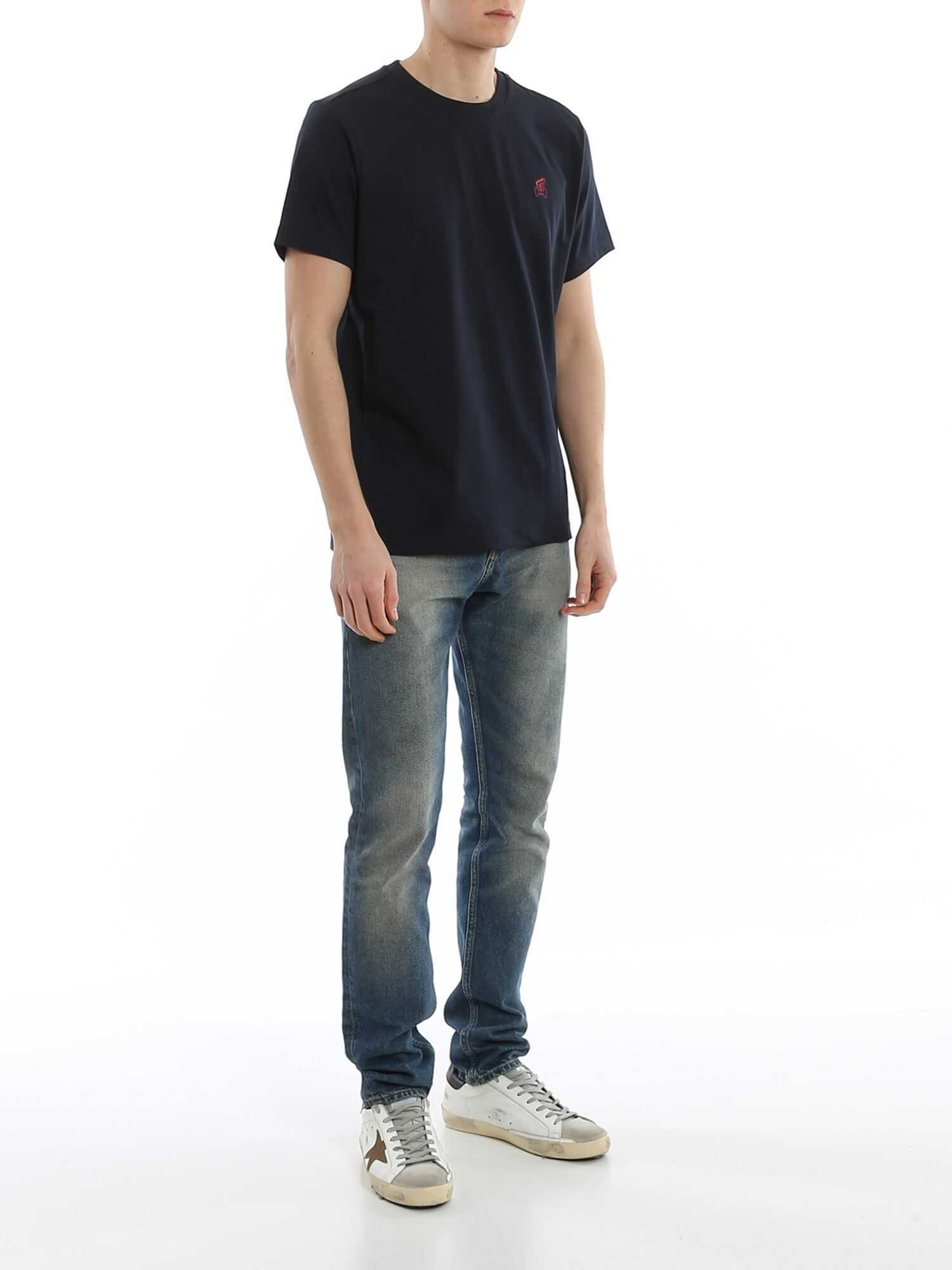 Hogan Regular Fit Cotton T-Shirt Blue