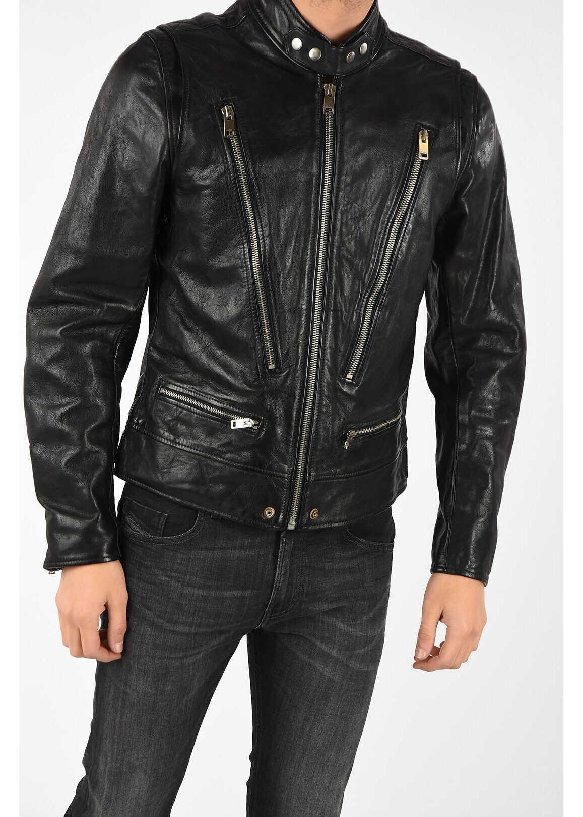 Diesel Leather L-HARDSTYLE Jacket BLACK imagine