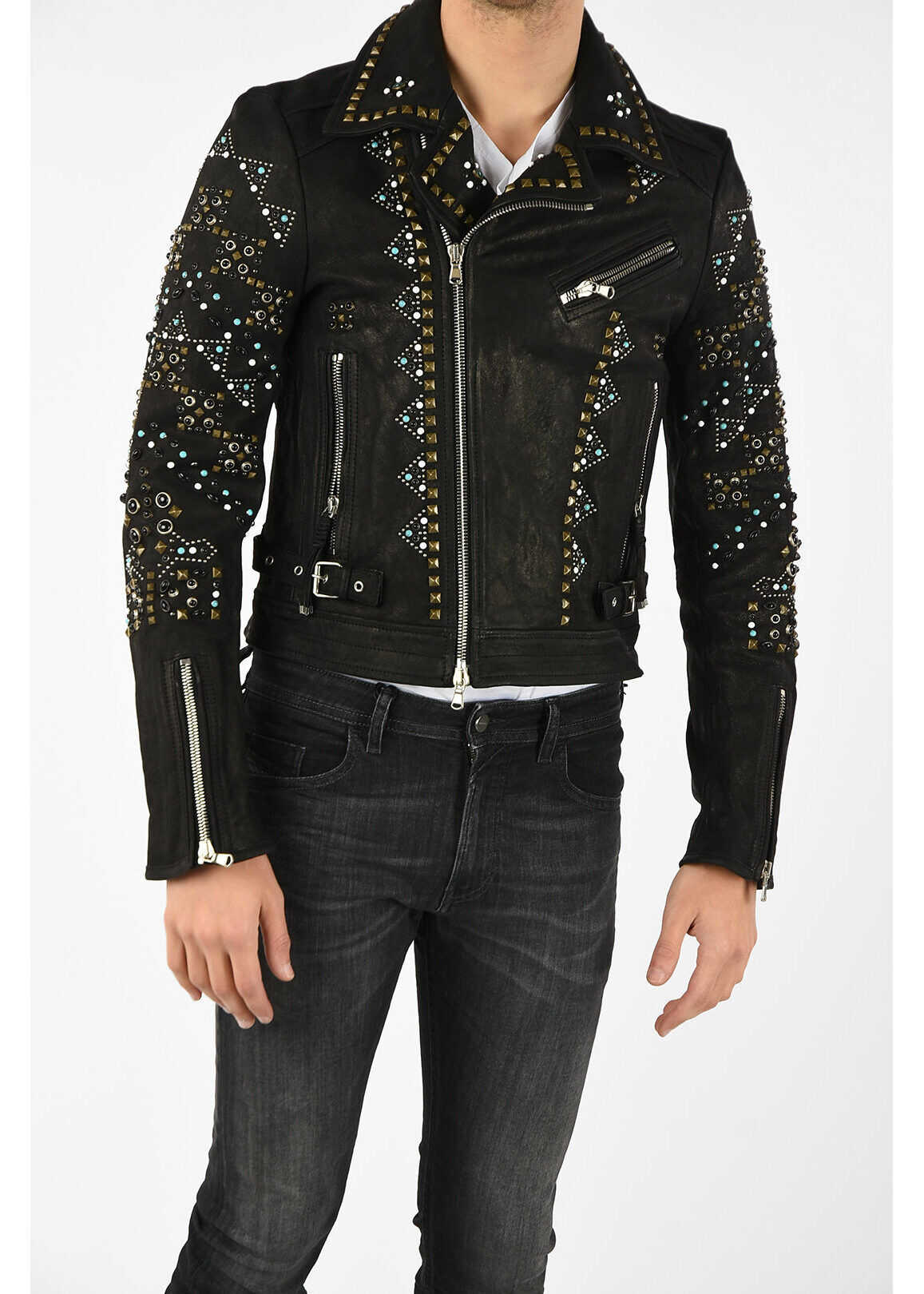 Diesel BLACK GOLD Leather Studded LANDITO Jacket BLACK