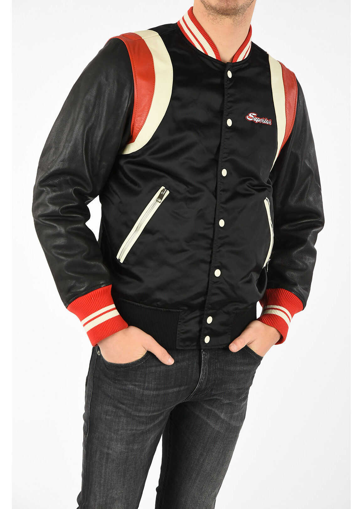 Diesel L-HARU Bomber with Leather Sleeves MULTICOLOR imagine