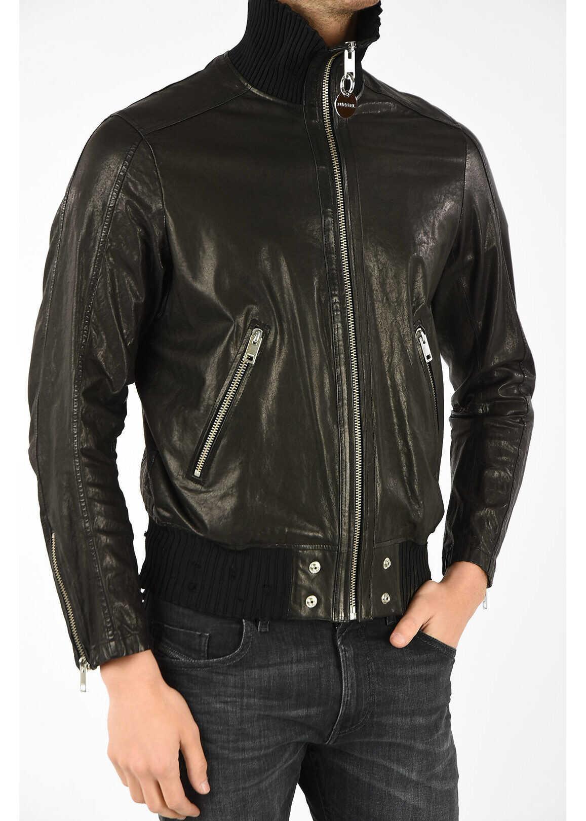 Diesel Leather L-LYSSEN Jacket BLACK
