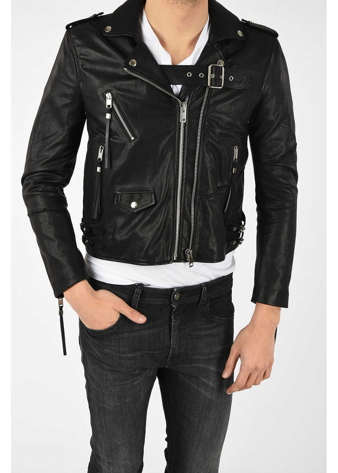 Diesel Leather Studded SE-LENE Jacket BLACK imagine