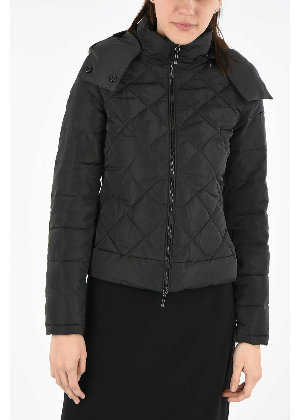 Armani ARMANI JEANS hooded quilted jacket GRAY