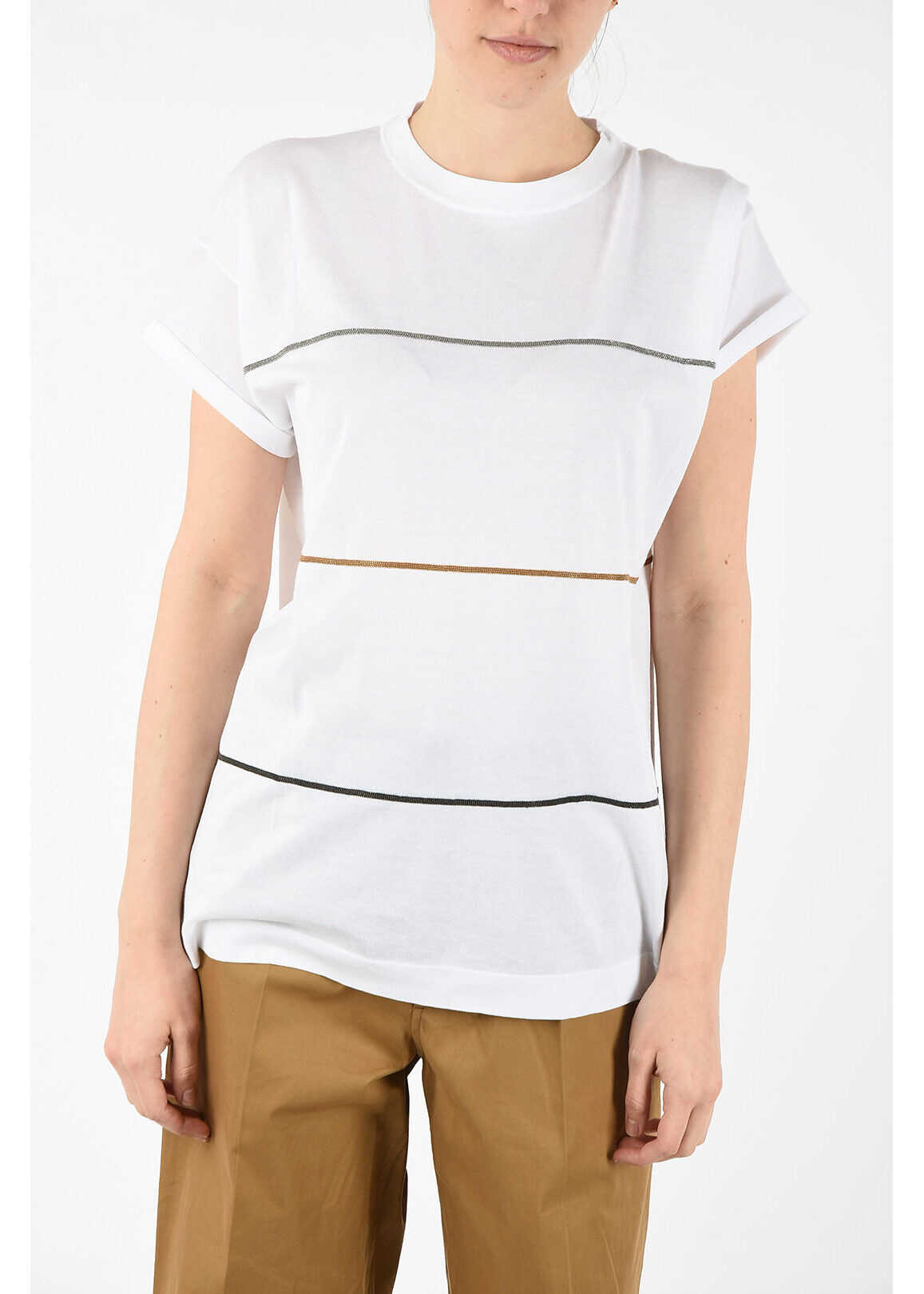 Brunello Cucinelli t-shirt with embroidery WHITE