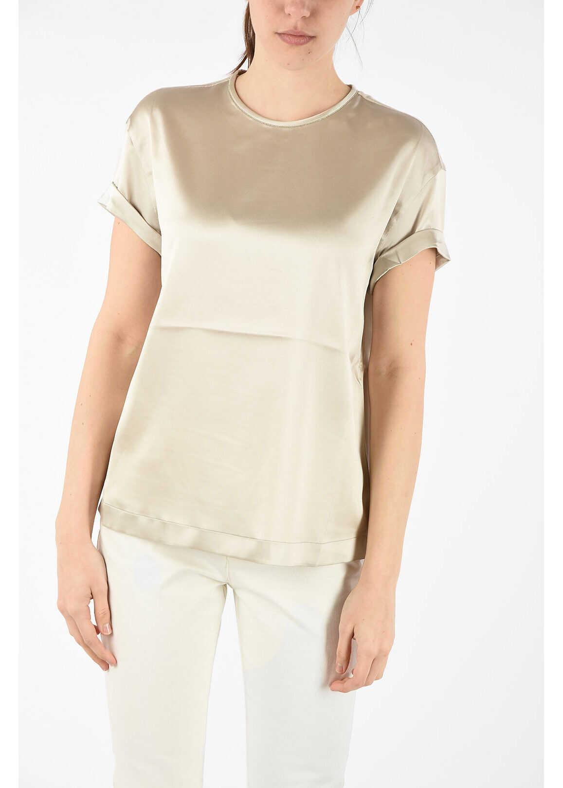 Brunello Cucinelli silk t-shirt BEIGE