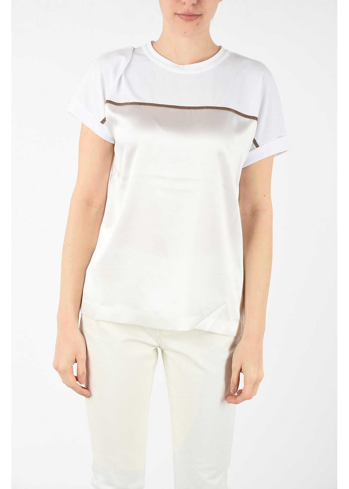 Brunello Cucinelli silk t-shirt WHITE