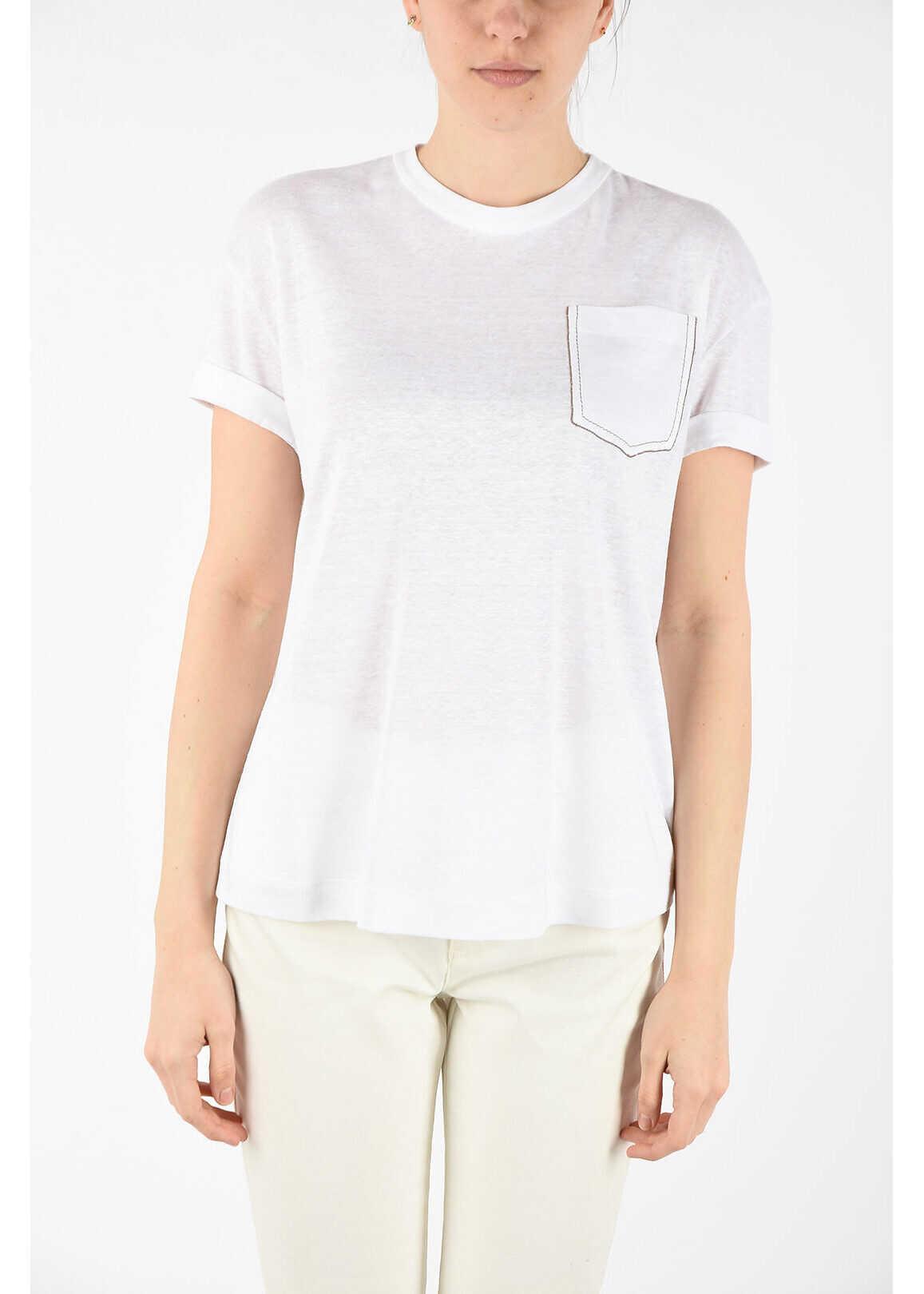 Brunello Cucinelli linen and silk t-shirt WHITE