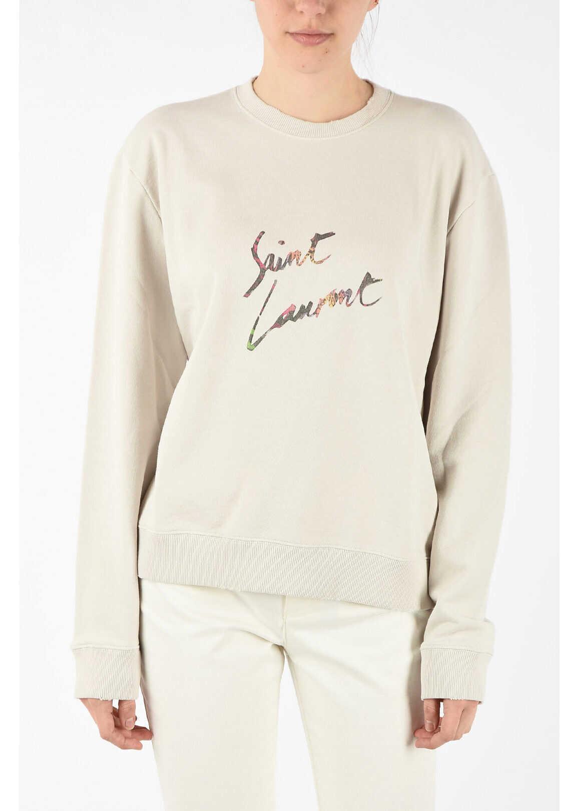 Saint Laurent crew-neck sweatshirt BEIGE