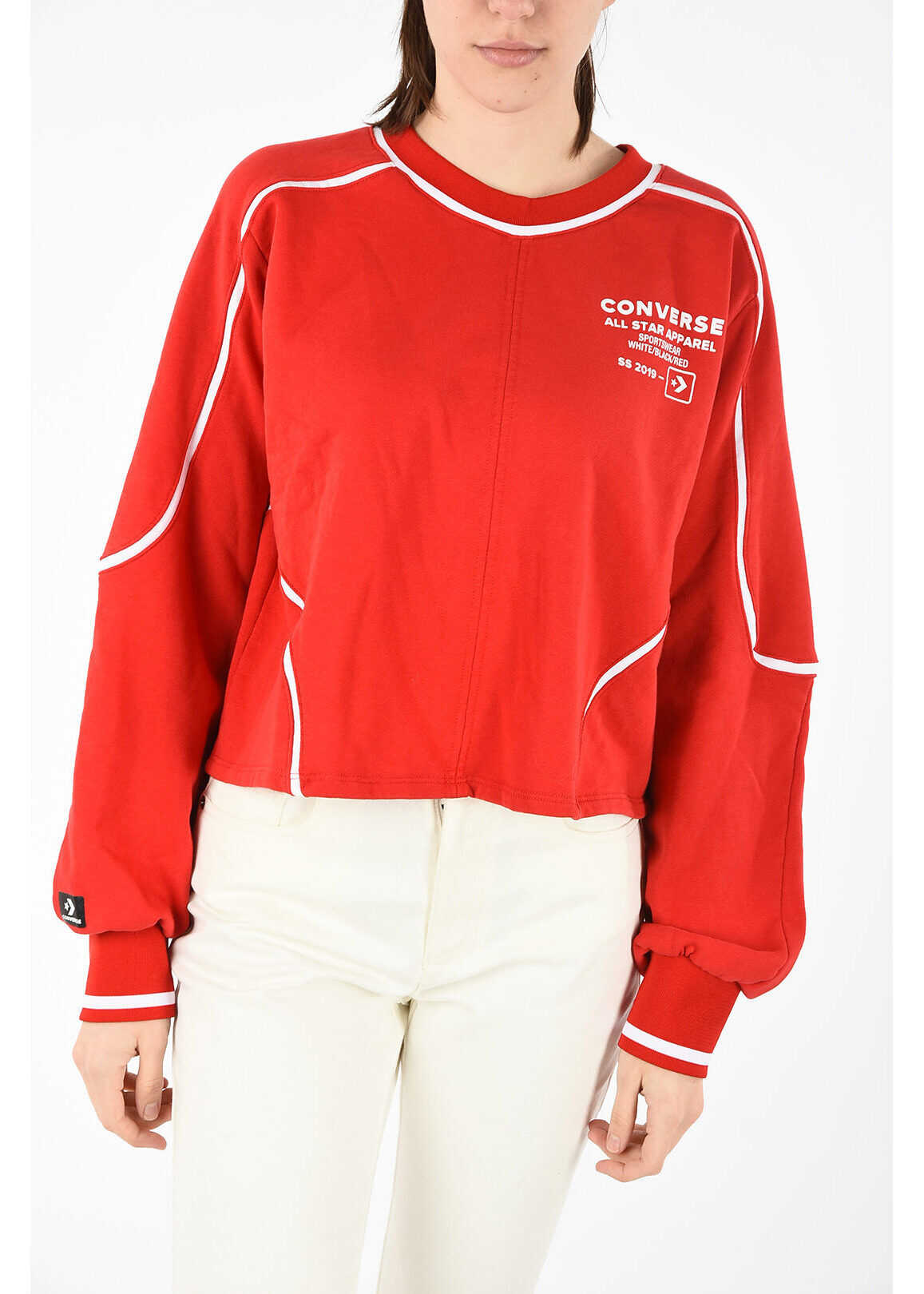 Converse crop crew-neck sweatshirt RED