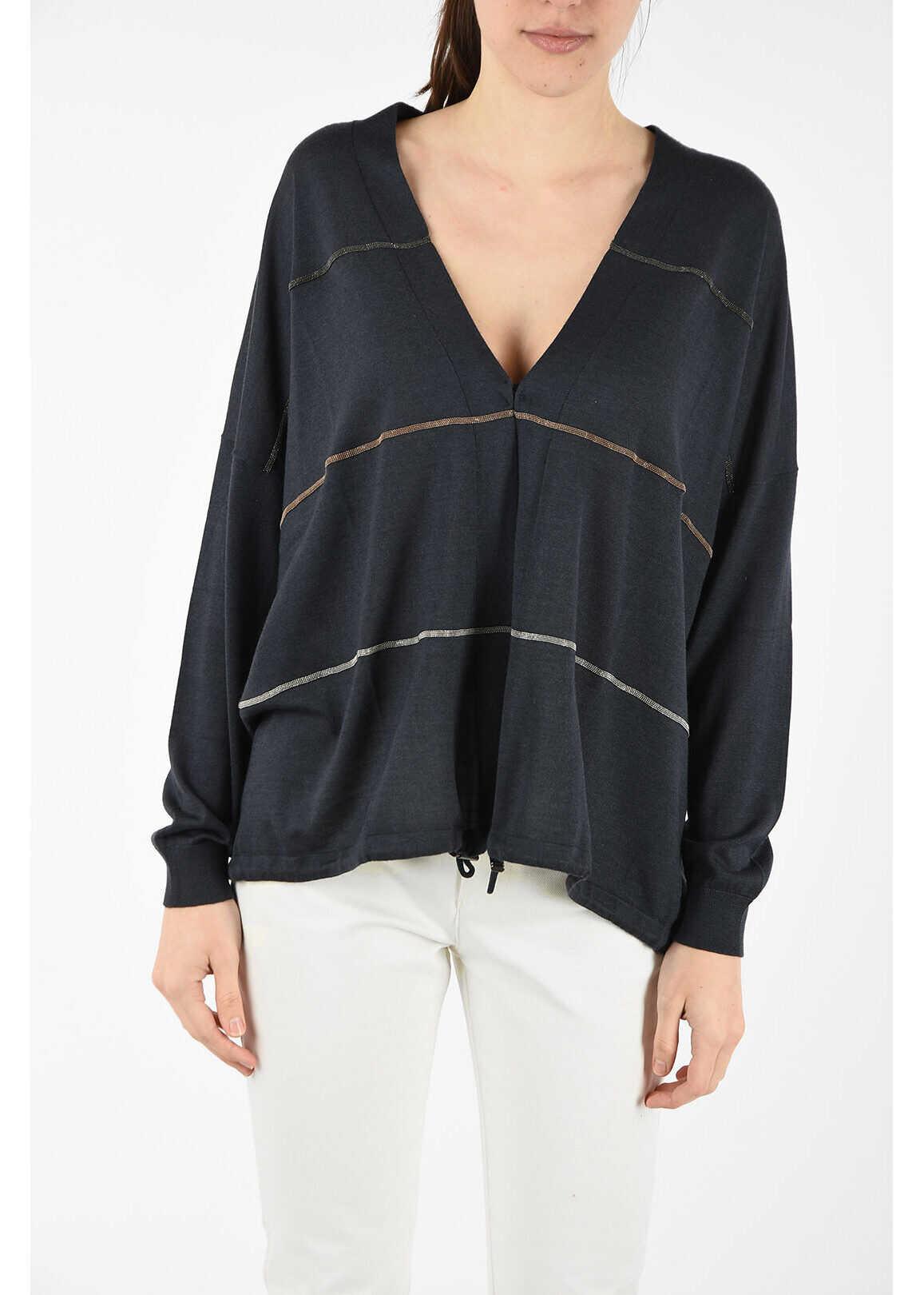 Brunello Cucinelli silk and cashmere cardigan GRAY