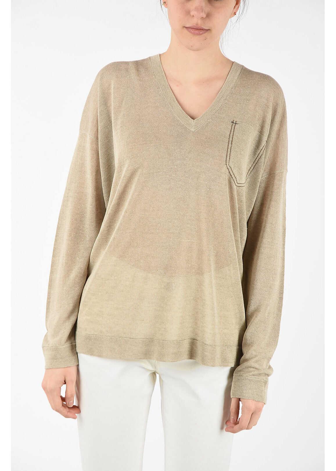 Brunello Cucinelli linen v-neck sweater BEIGE