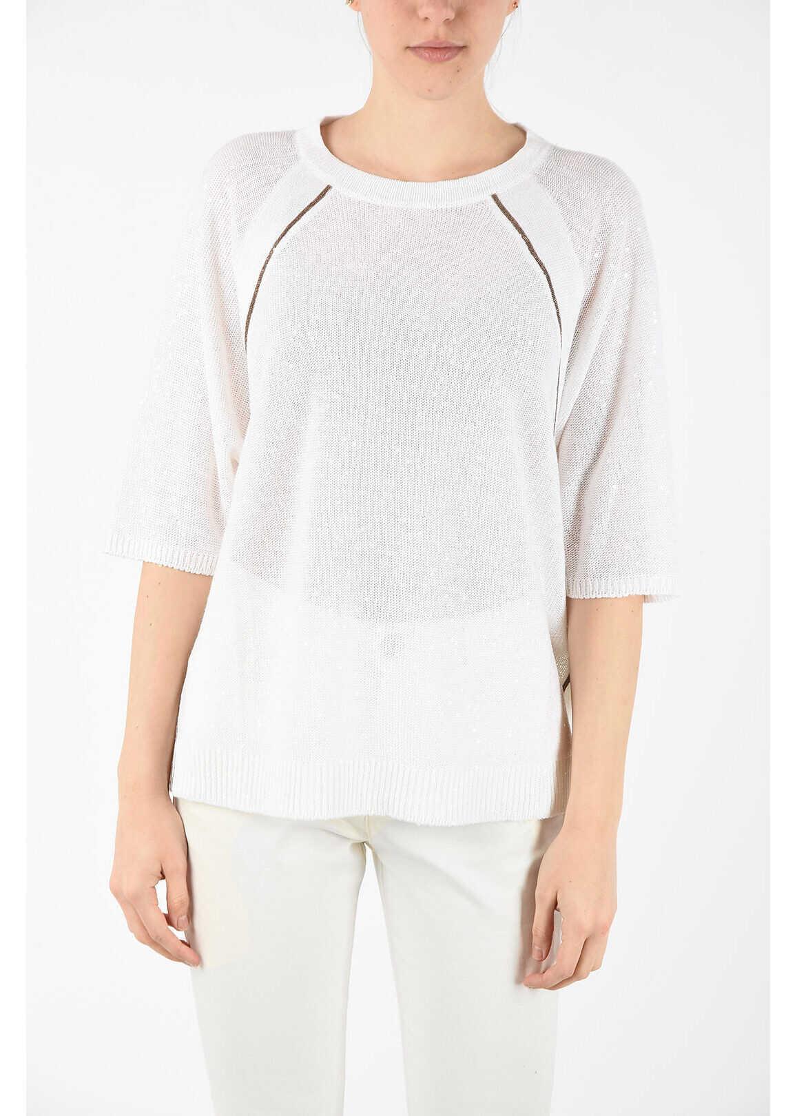 Brunello Cucinelli linen and silk ¾ sleeve sweater WHITE