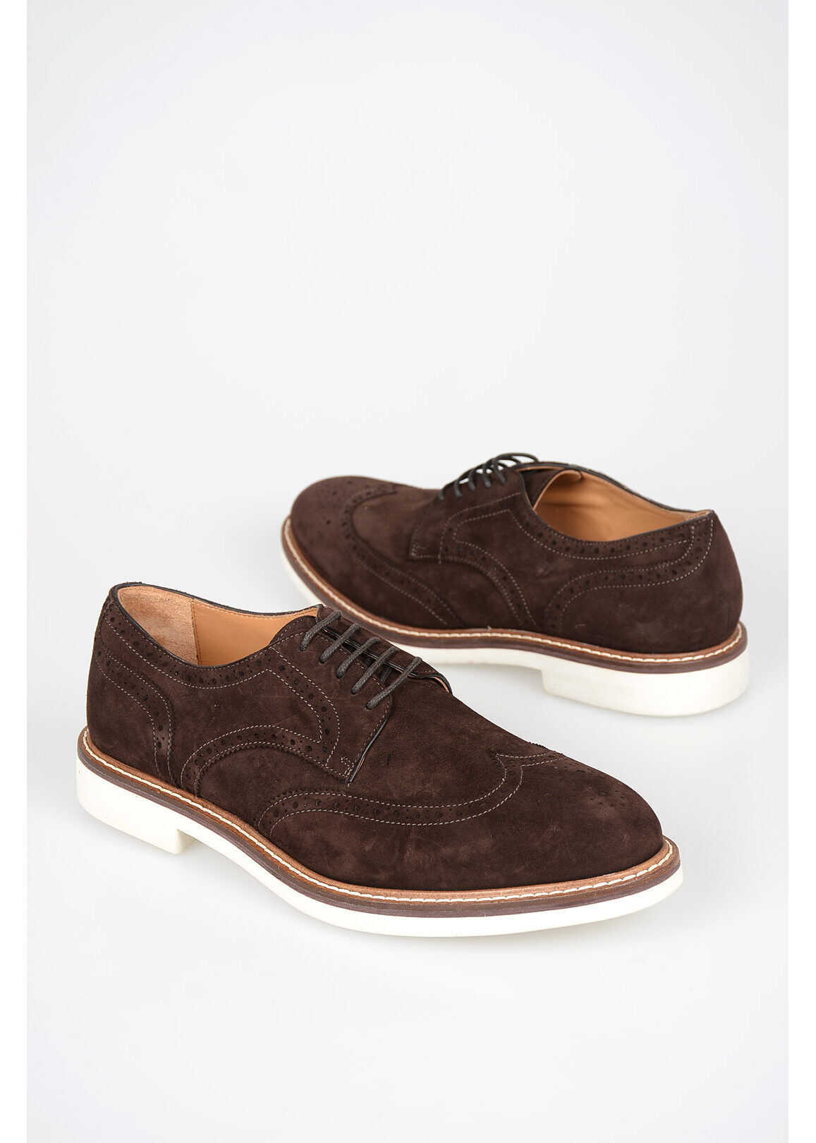 CORNELIANI Suede Leather Derby with broguing BROWN