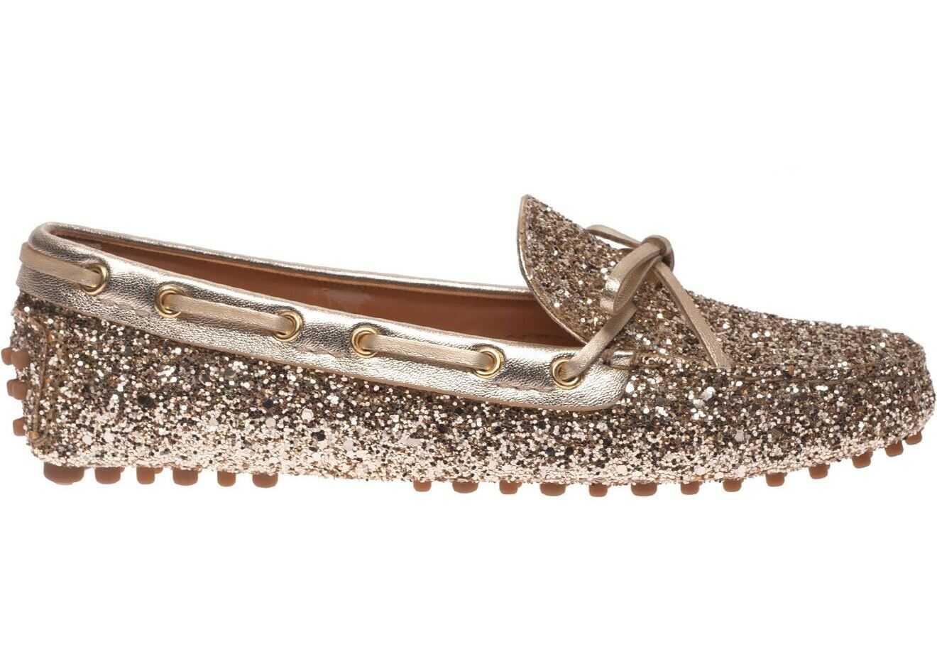 Car Shoe Glitter Loafers In Gold Color Gold