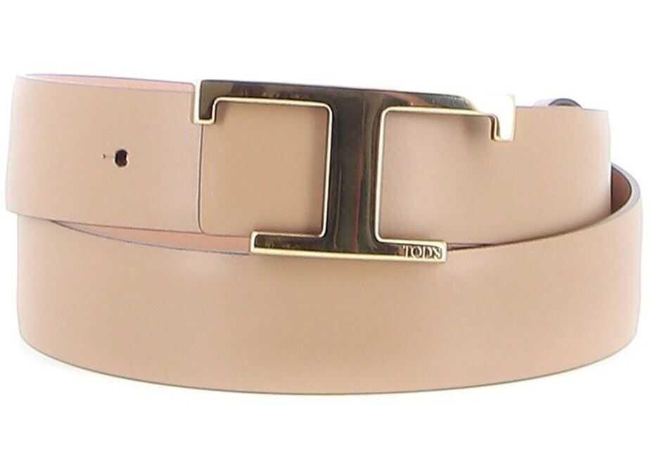 TOD'S T Buckle Leather Belt In Pink Beige