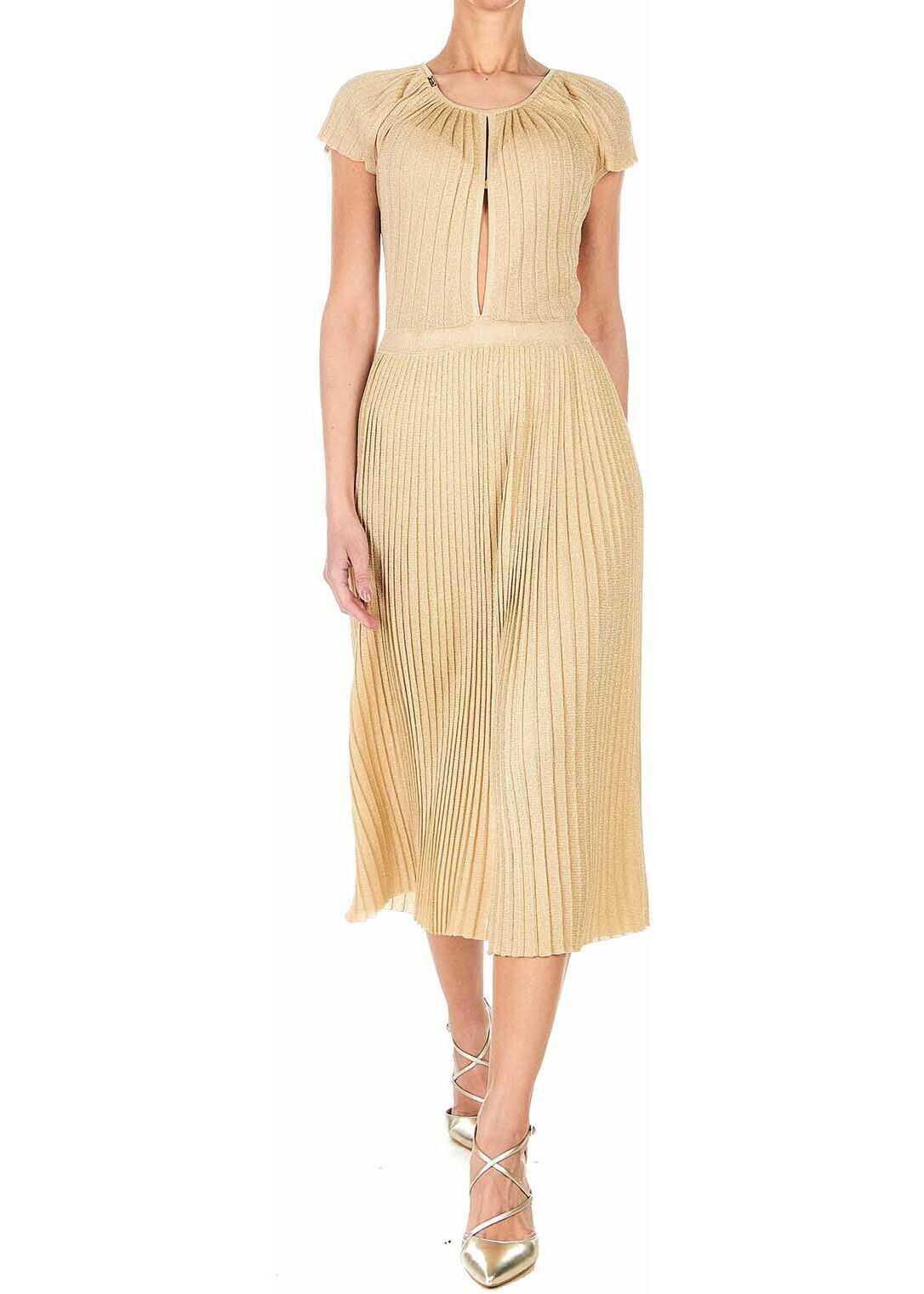 Elisabetta Franchi Dress with accordion pleats Gold