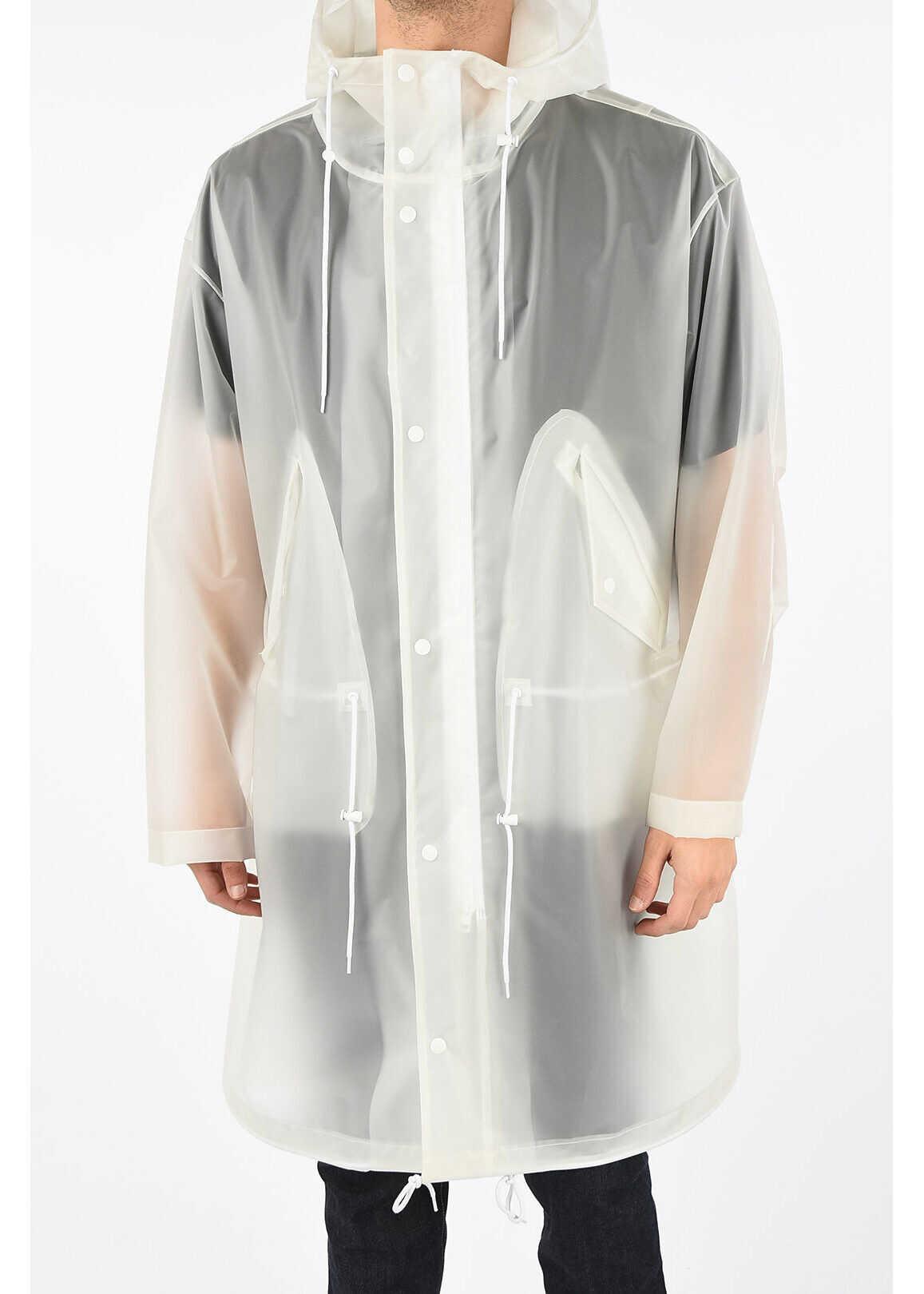 Calvin Klein Printed Logo Raincoat WHITE imagine