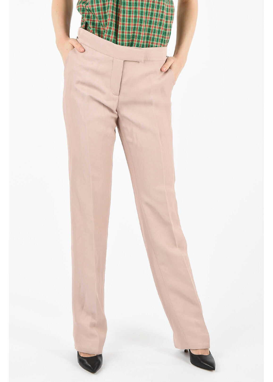 Tom Ford slim fit single pleat pants PINK