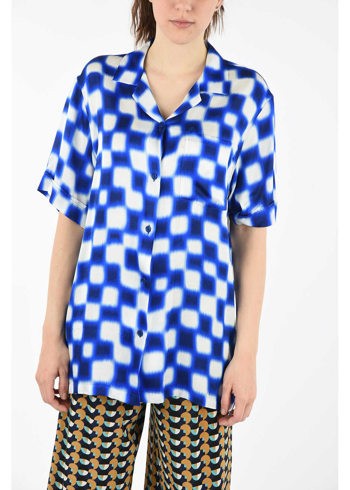 Dries Van Noten Checked Short Sleeve Shirt BLUE