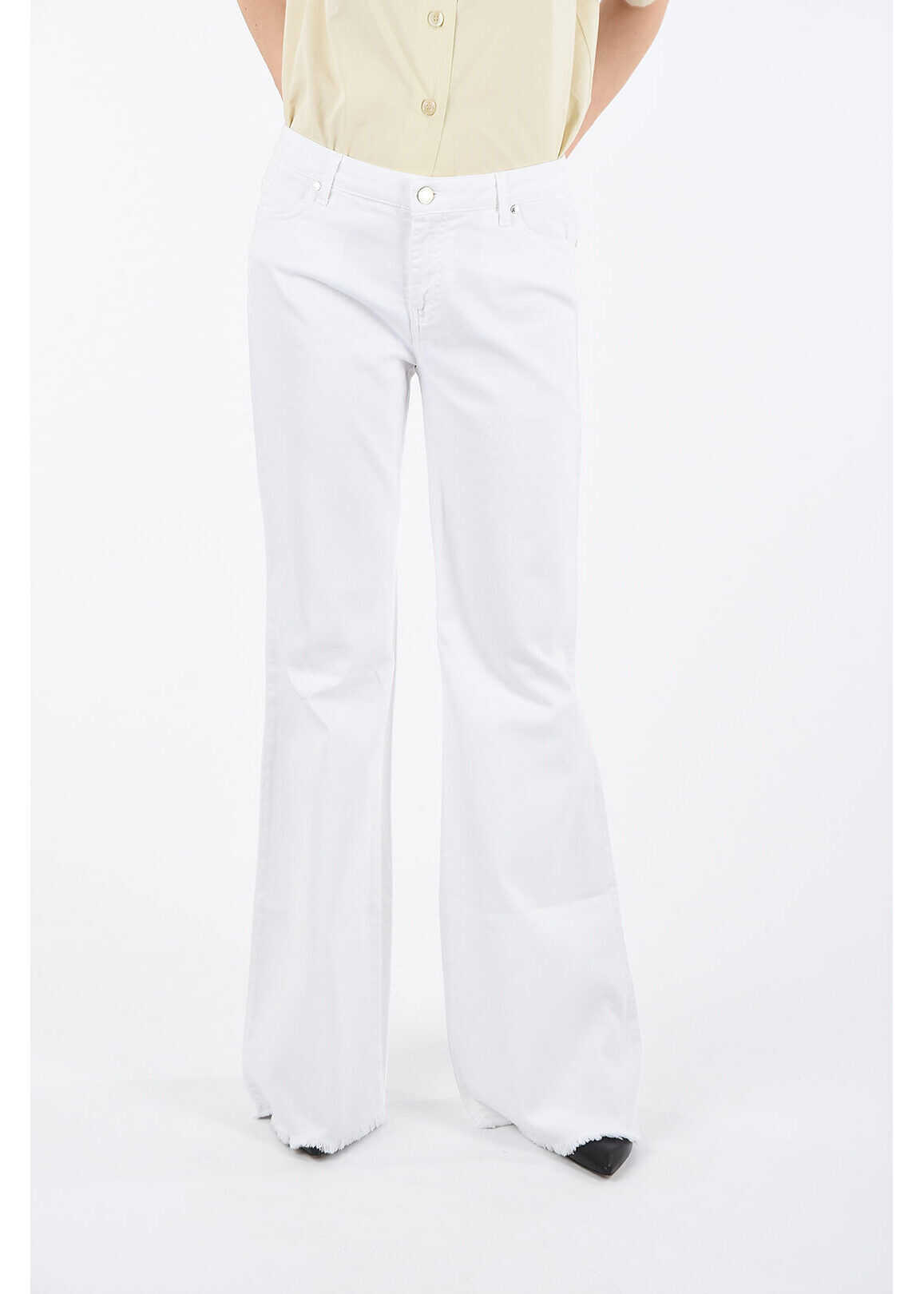 Ermanno Scervino wide jeans with Freyed Hem WHITE