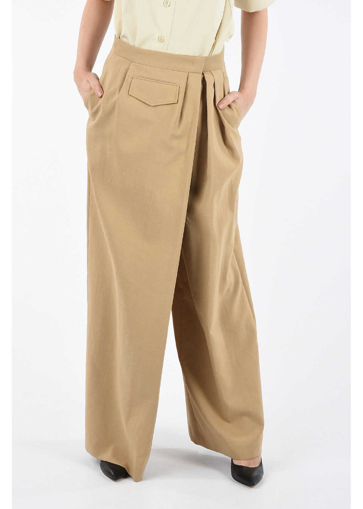 Salvatore Ferragamo Cotton and Linen Palazzo Pants BEIGE