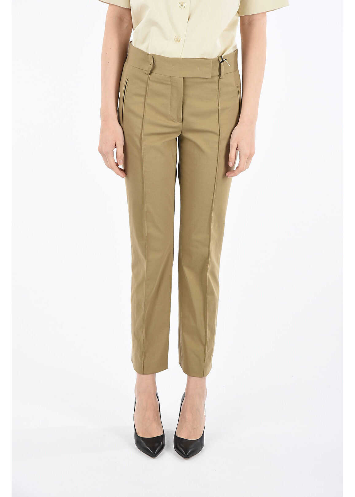 Salvatore Ferragamo Mid-rise waist single pleat pants BEIGE