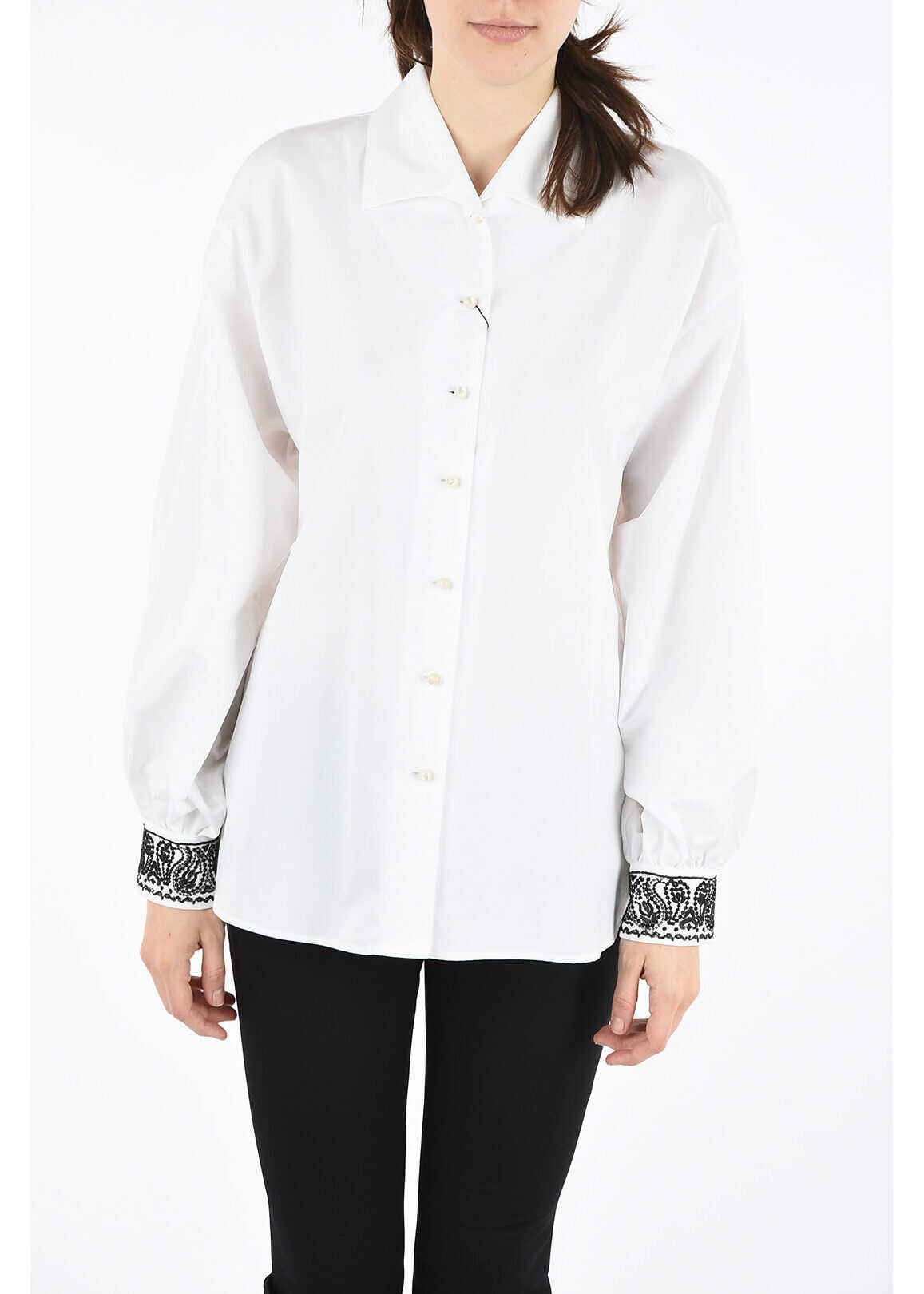 ETRO Cotton Shirt with Embroidered Cuffs WHITE