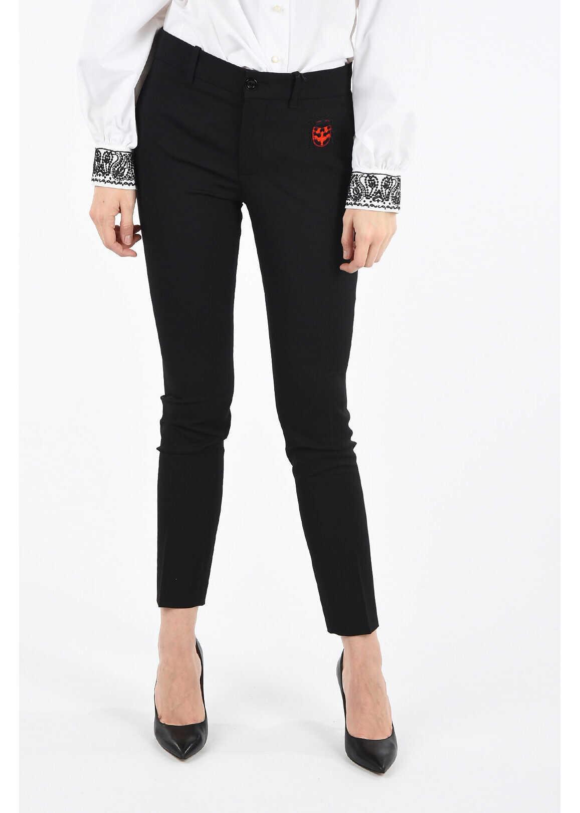 Gucci slim fit single pleat pants BLACK