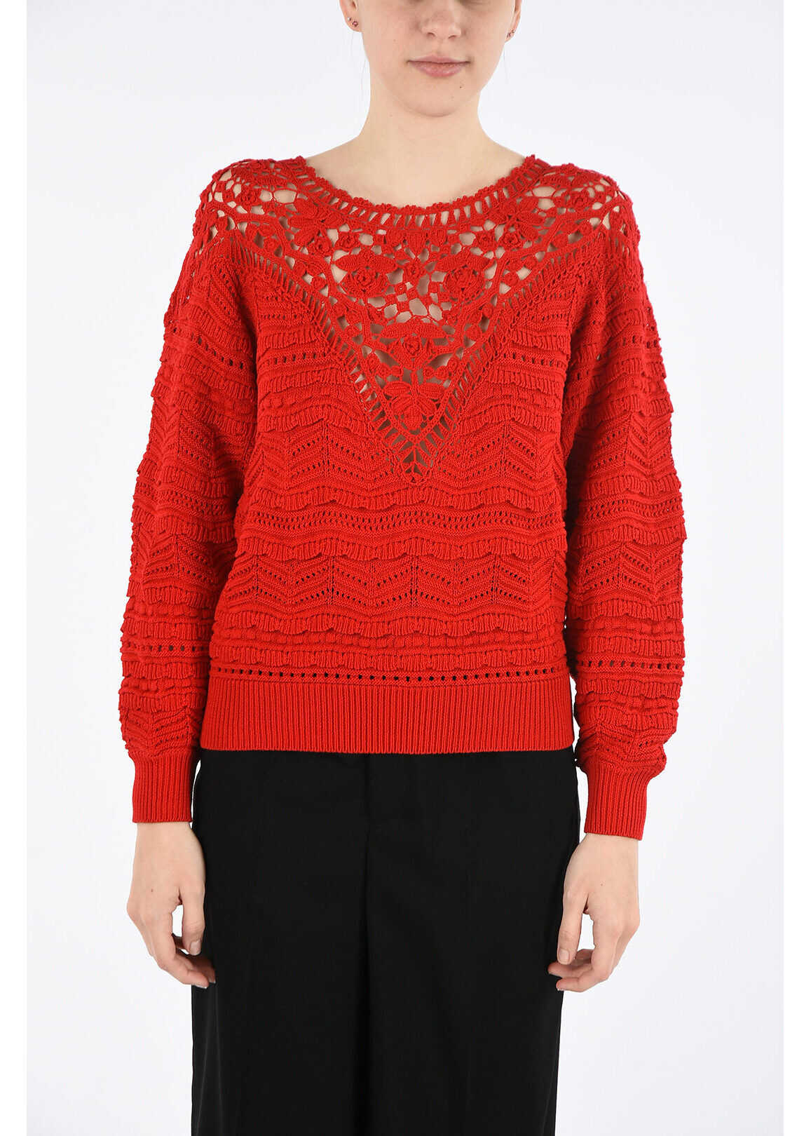 Isabel Marant bateau neckline crochet sweater RED