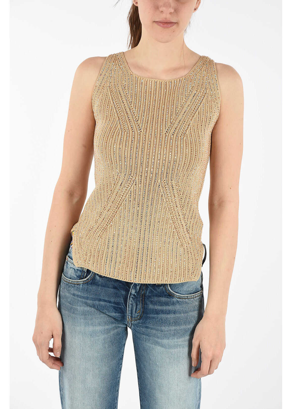 Ermanno Scervino Sleeveless Sweater with Jewel Applications BEIGE