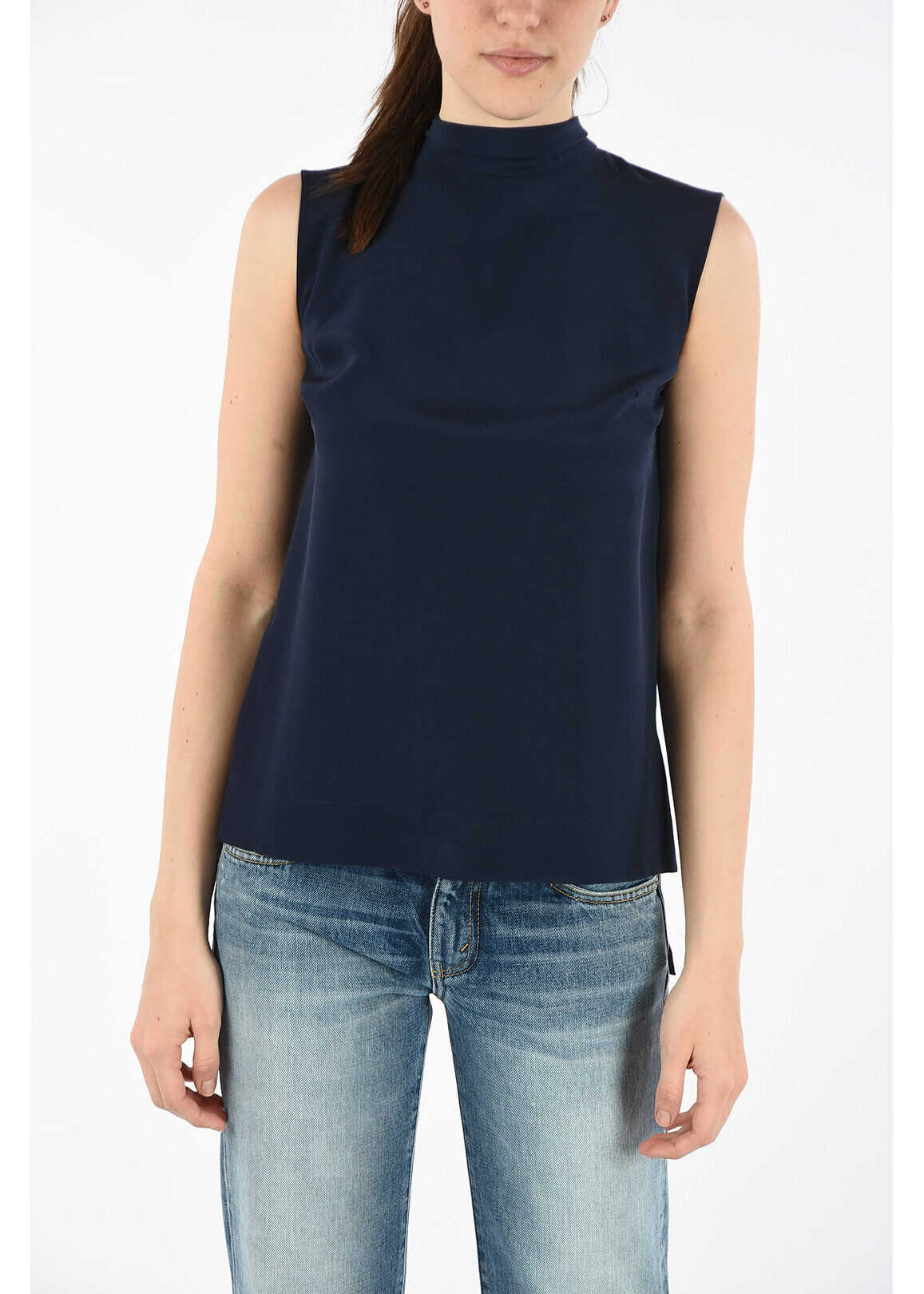 Ermanno Scervino Silk Top with Bow BLUE