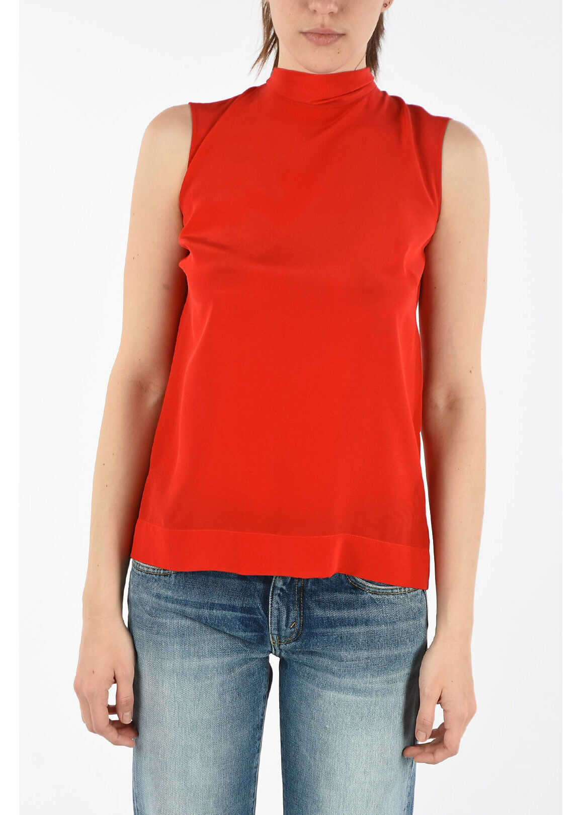 Ermanno Scervino Silk Top with Bow RED