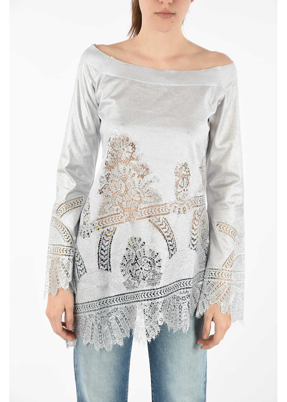 Ermanno Scervino Boat Neck Sweater with Lace Details SILVER