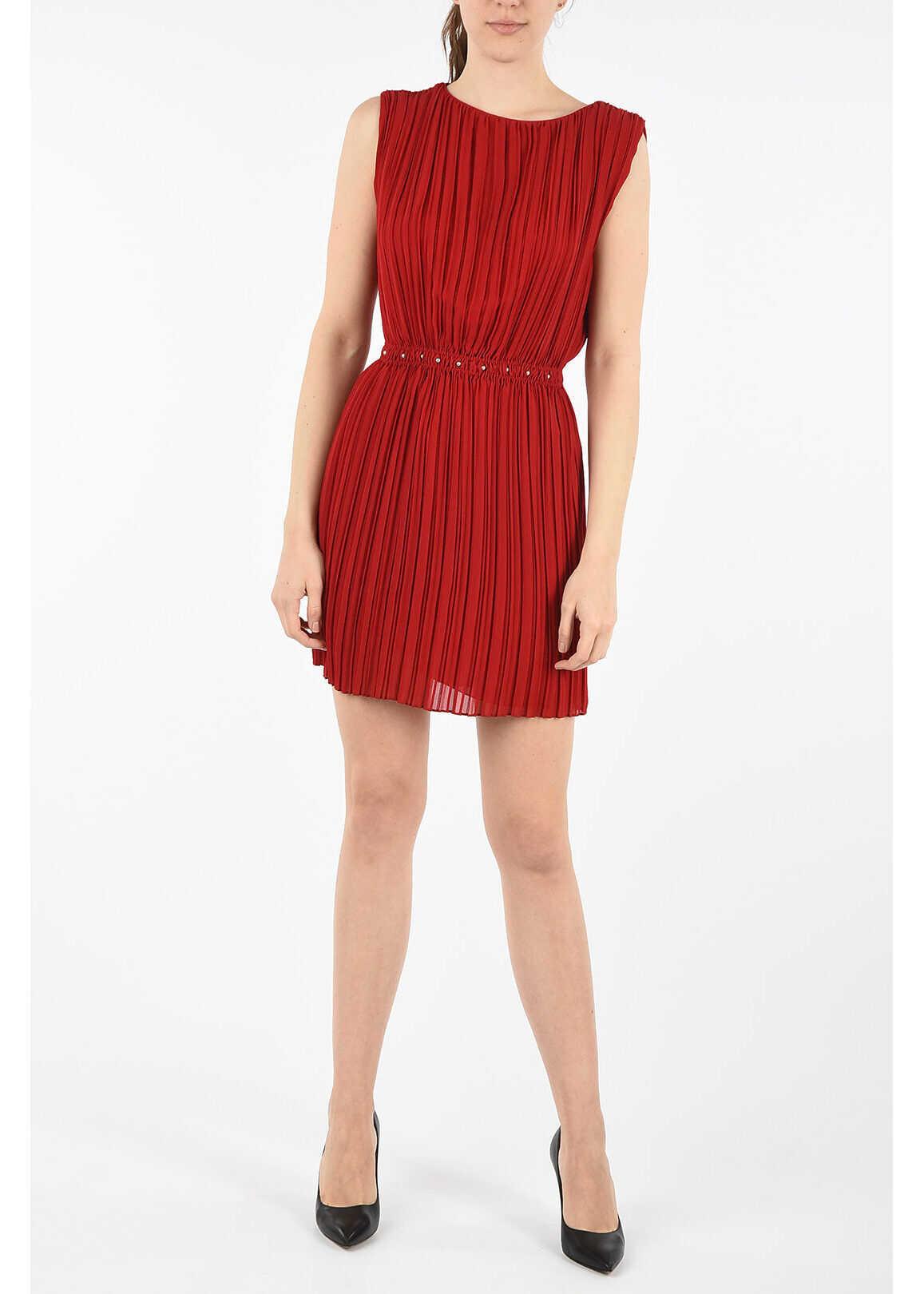 Saint Laurent Pleated silk empire dress RED