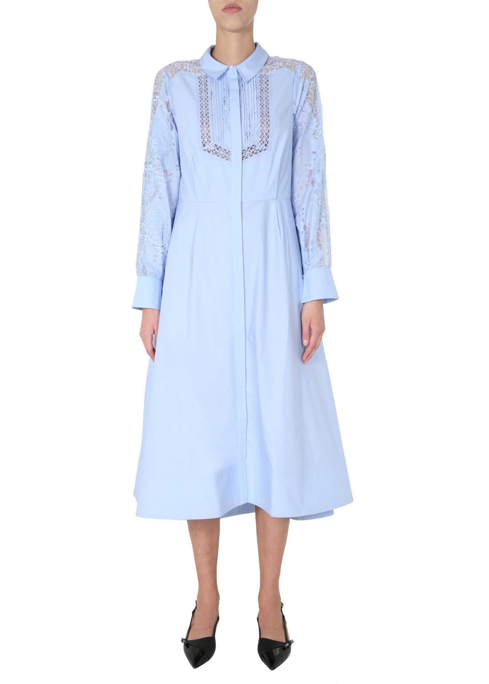 Self-Portrait Shirt Dress BABY BLUE