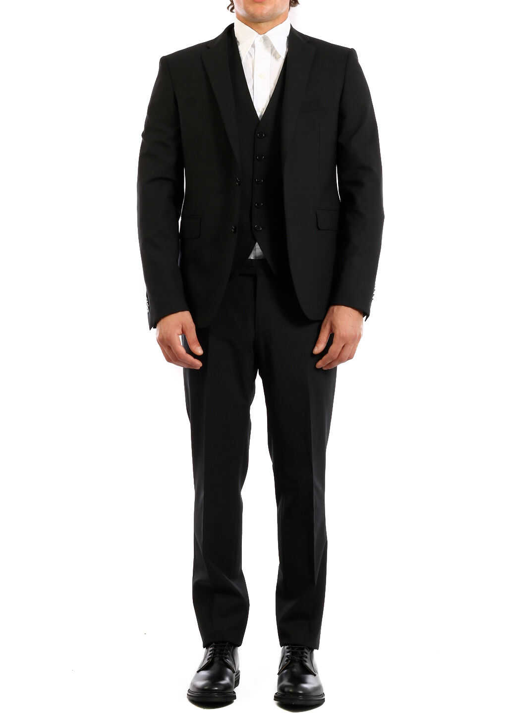 Tagliatore Three-Piece Suit In Wool Black imagine