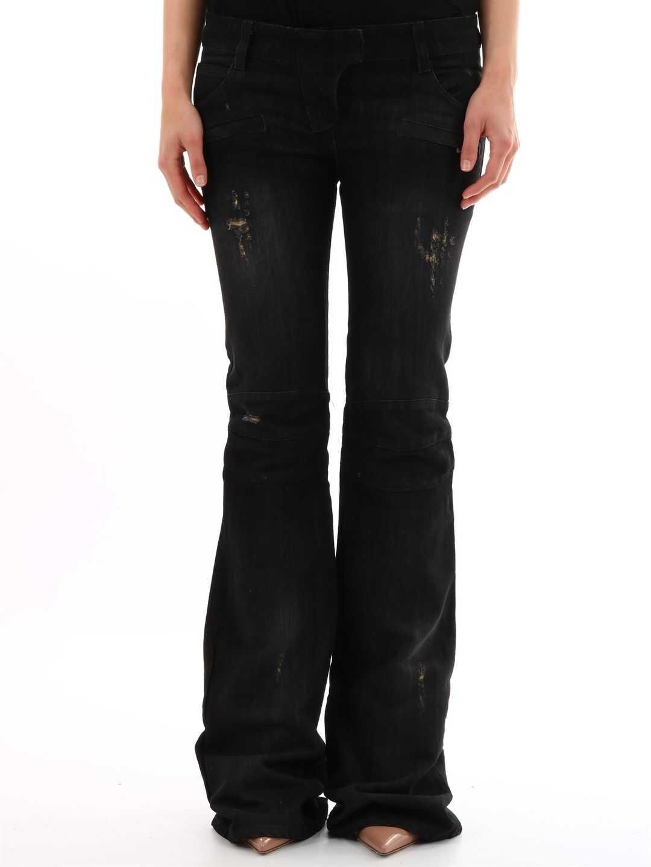 Balmain Flared Jeans Dark Denim Black
