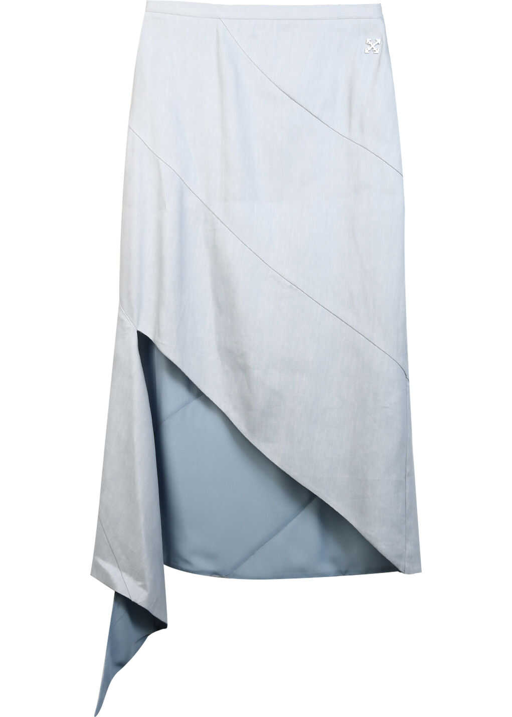 Off-White Linen Skirt Light blue